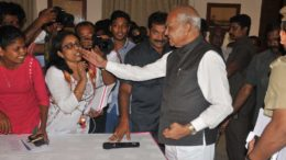 Banwarilal Purohit, TN Governor Breaks Decorum By Patting Woman Journalist On Cheek